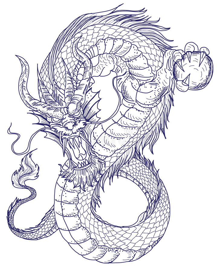 Hand Drawn Dragon Tattoo ,coloring Book Japanese Style Stock Vector ...