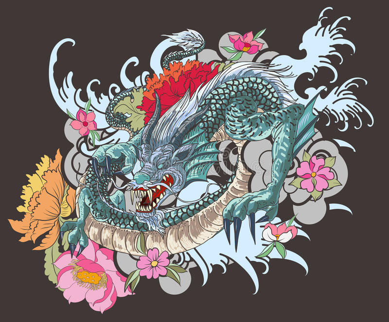 Traditional Flower Line Drawing : Hand drawn dragon tattoo coloring book japanese style stock