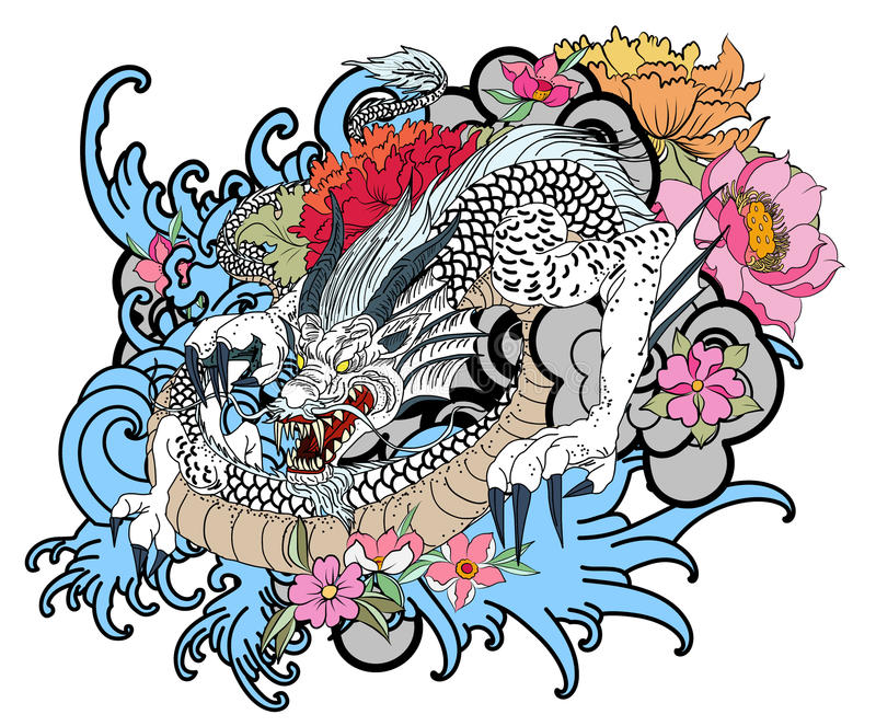 Hand drawn dragon tattoo ,coloring book japanese style. Traditional tattoo Japanese tattoo style,The dragon with ocean and flower,Japanese carp line drawing stock illustration