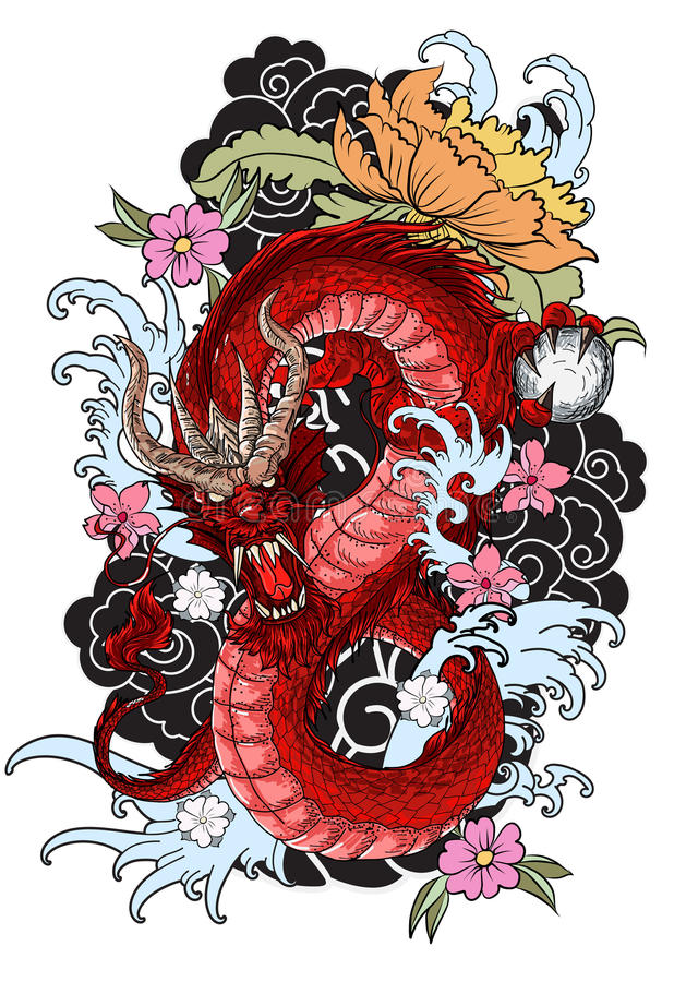 Hand drawn dragon tattoo ,coloring book japanese style. Traditional tattoo Japanese tattoo style,The dragon with ocean and flower,Japanese carp line drawing vector illustration