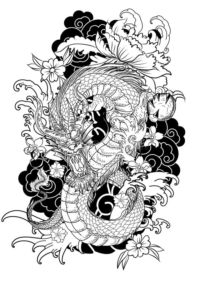 Hand Drawn Dragon Tattoo Coloring Book Japanese Style