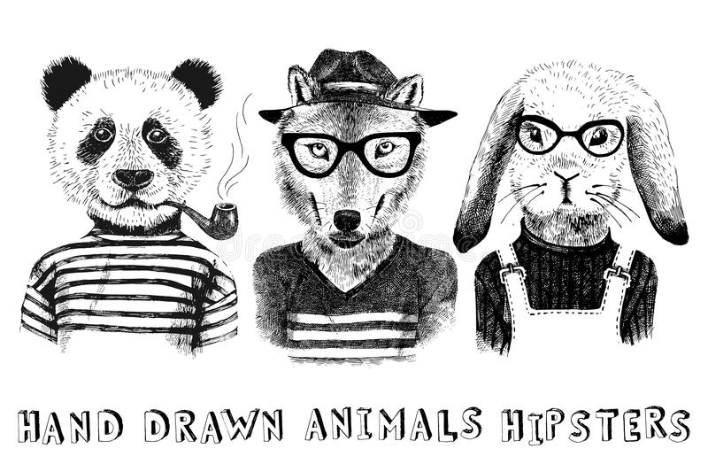 Hand drawn dressed up animals in hipster style. Hand drawn dressed up animals set in hipster style royalty free illustration