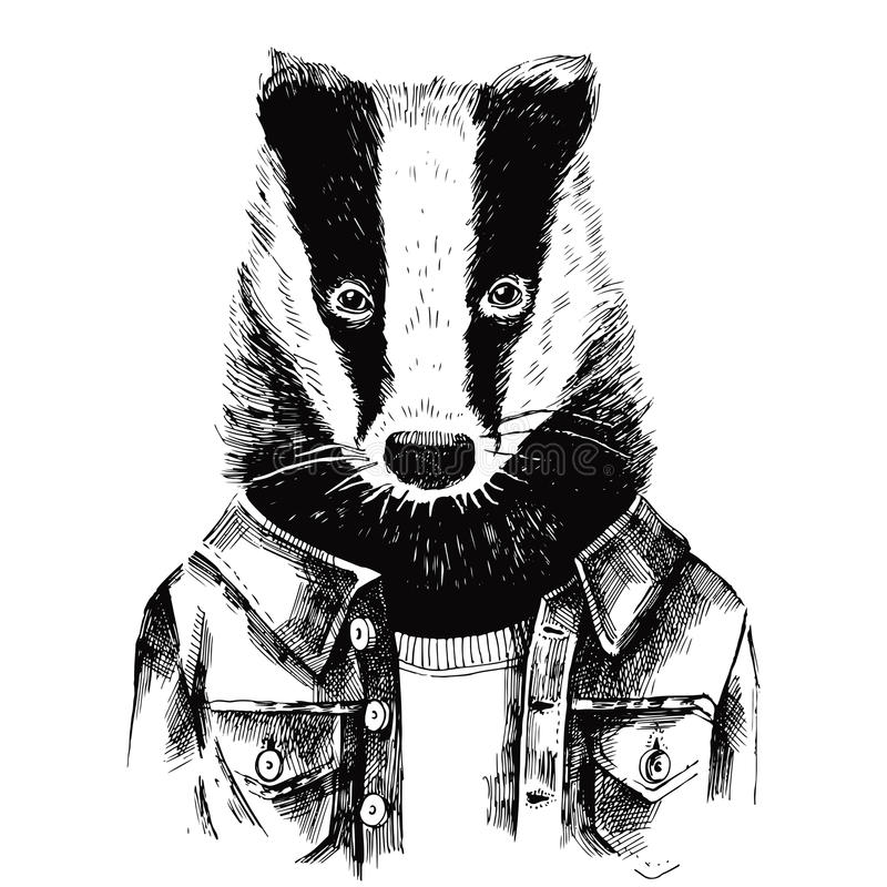 Hand drawn dressed up badger in hipster style. Hand drawn dressed up black and white badger in hipster style stock illustration