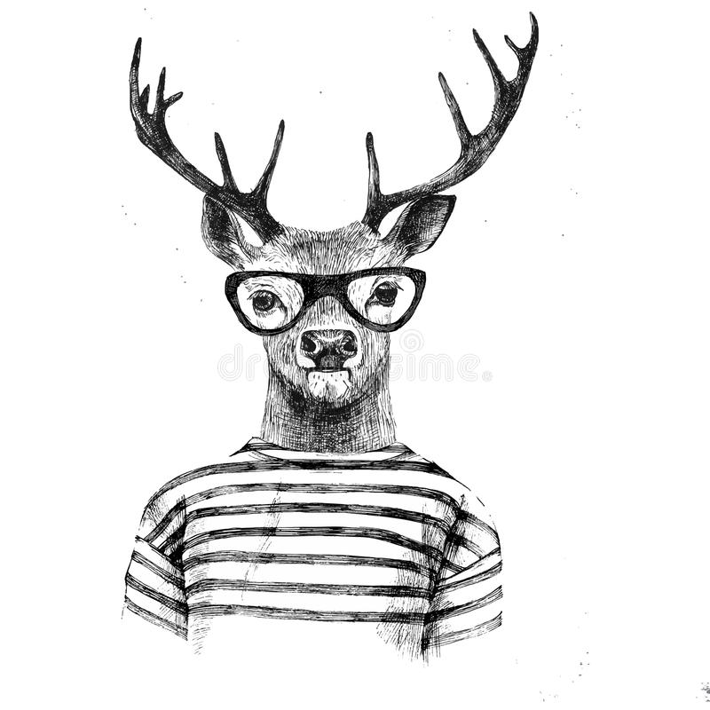 Hand drawn dressed up deer. In hipster style stock illustration
