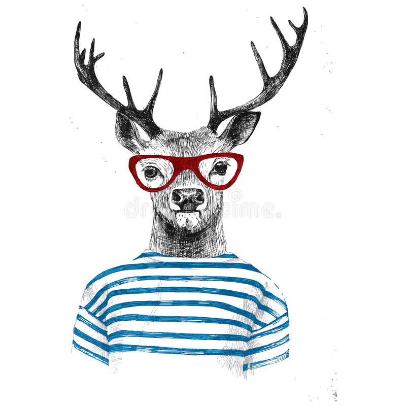 Hand drawn dressed up deer. In hipster style vector illustration