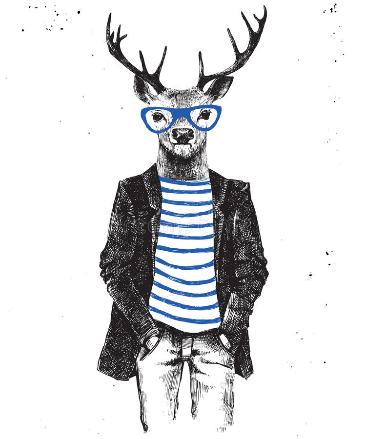 Hand drawn dressed up deer in hipster style. Hand drawn dressed up hipster deer. Vector illustration in hipster style stock illustration