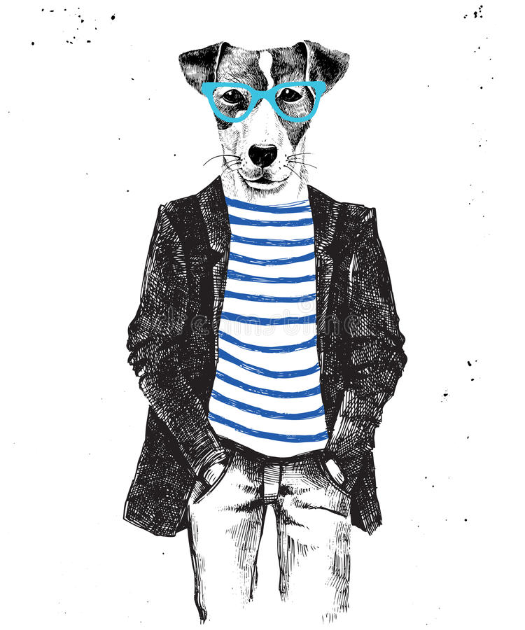 Hand drawn dressed up dog in hipster style. Hand drawn dressed up hipster dog. Vector illustration in hipster style royalty free illustration