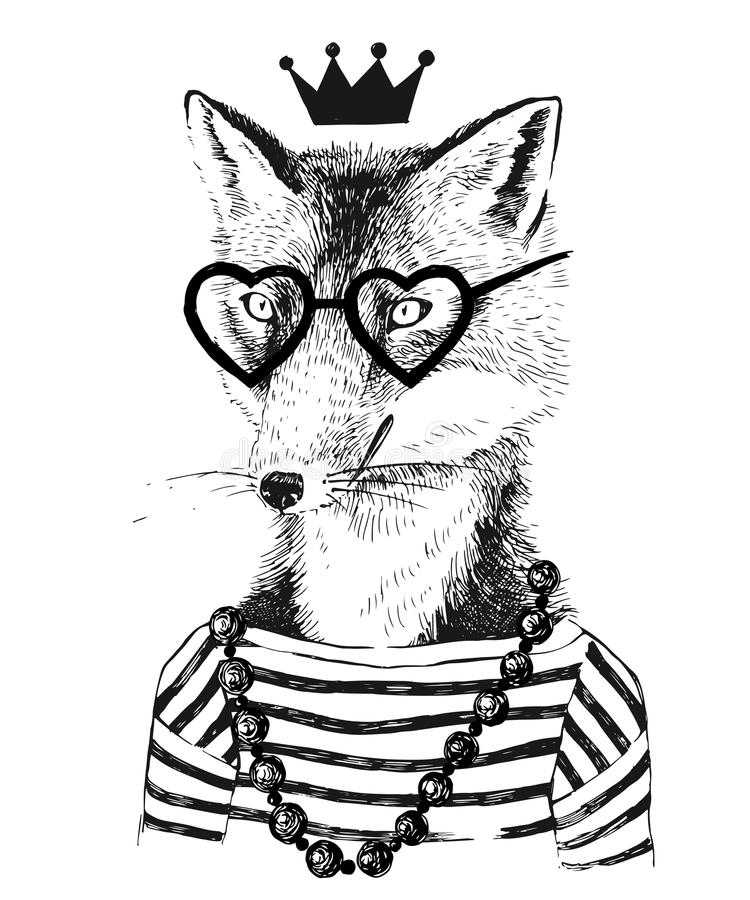 Hand drawn dressed up fennec in hipster style. Hand drawn black and white dressed up fennec in hipster style vector illustration