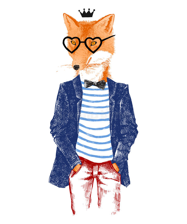 Hand drawn dressed up fox in hipster style. Colorful hand drawn dressed up fox in hipster style royalty free illustration
