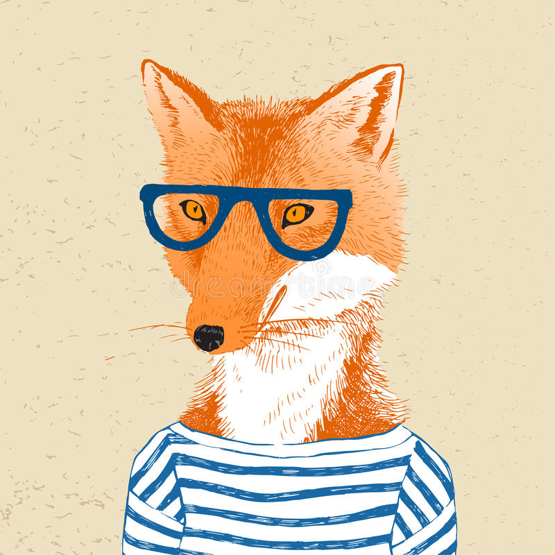 Hand drawn dressed up fox in hipster style. Colorful hand drawn dressed up fox in hipster style stock illustration