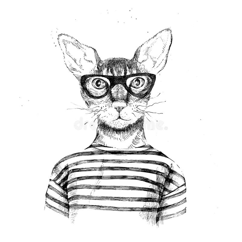 Hand drawn dressed up hipster cat stock illustration