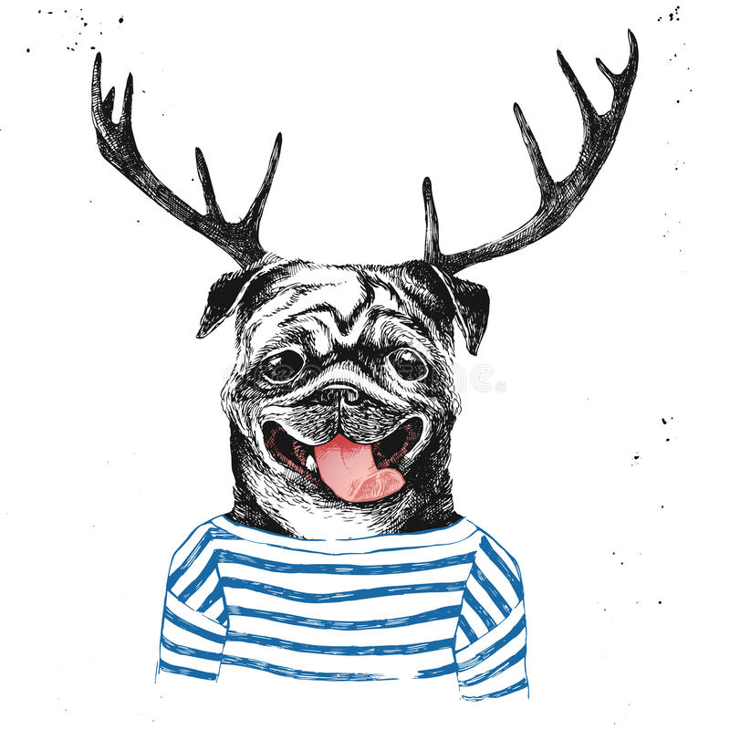 Hand drawn dressed up pug in hipster style. With deer horns stock illustration