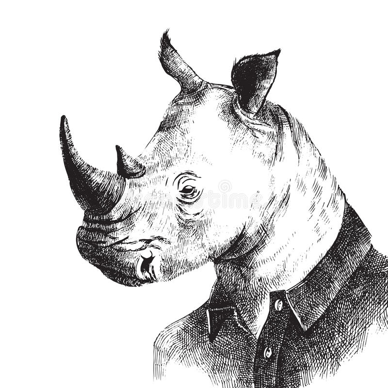 Hand drawn dressed up rhino in hipster style. Hand drawn black and white dressed up rhino in hipster style stock illustration