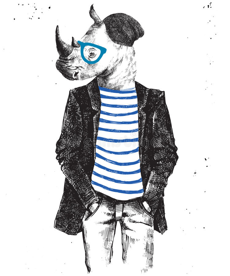 Hand drawn dressed up rhino in hipster style. Hand drawn dressed up hipster rhino. Vector illustration in hipster style vector illustration