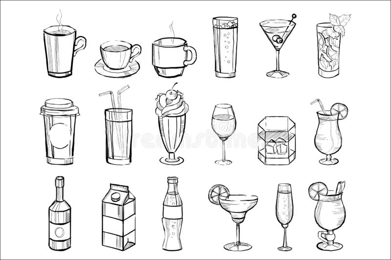 Hand drawn drinks and alcoholic cocktails big set doodle vector illustration royalty free illustration