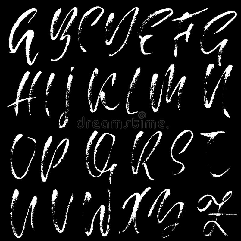 Download Hand Drawn Dry Brush Font Modern Lettering Grunge Style Alphabet Calligraphy