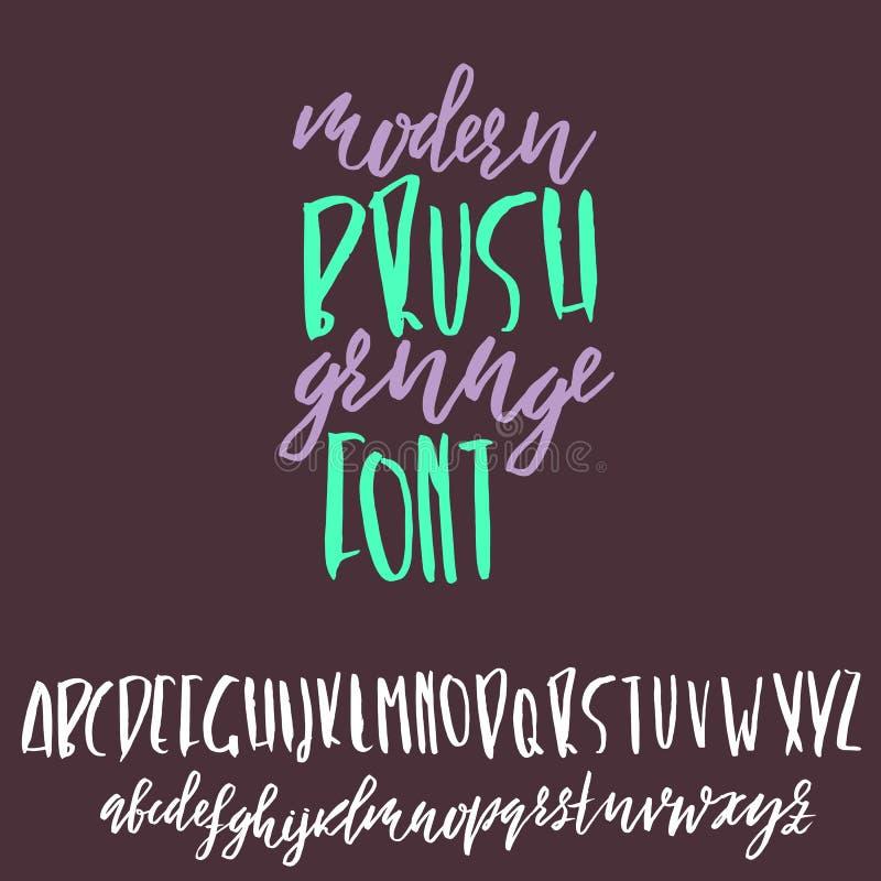 Hand drawn dry brush lettering. Grunge style alphabet. Handwritten font. Vector illustration. Hand drawn dry brush lettering. Grunge style alphabet. Handwritten royalty free illustration