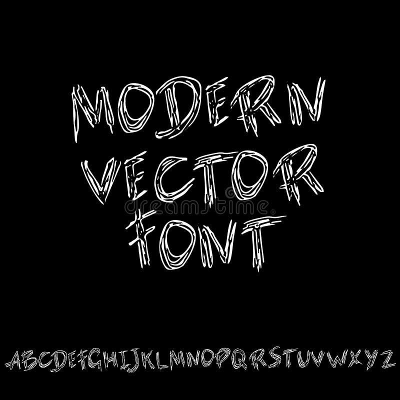 Hand drawn dry brush lettering. Grunge style alphabet. Handwritten font. Vector illustration. Hand drawn dry brush lettering. Grunge style alphabet. Handwritten stock illustration