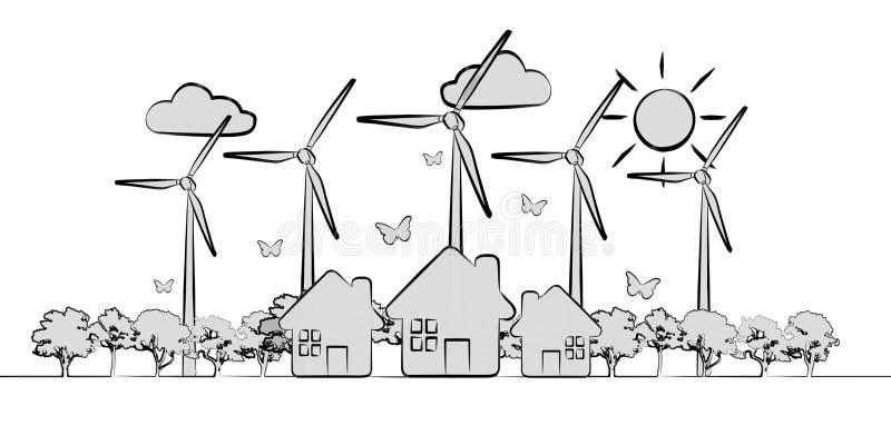 Hand-drawn duurzame energieschets royalty-vrije illustratie