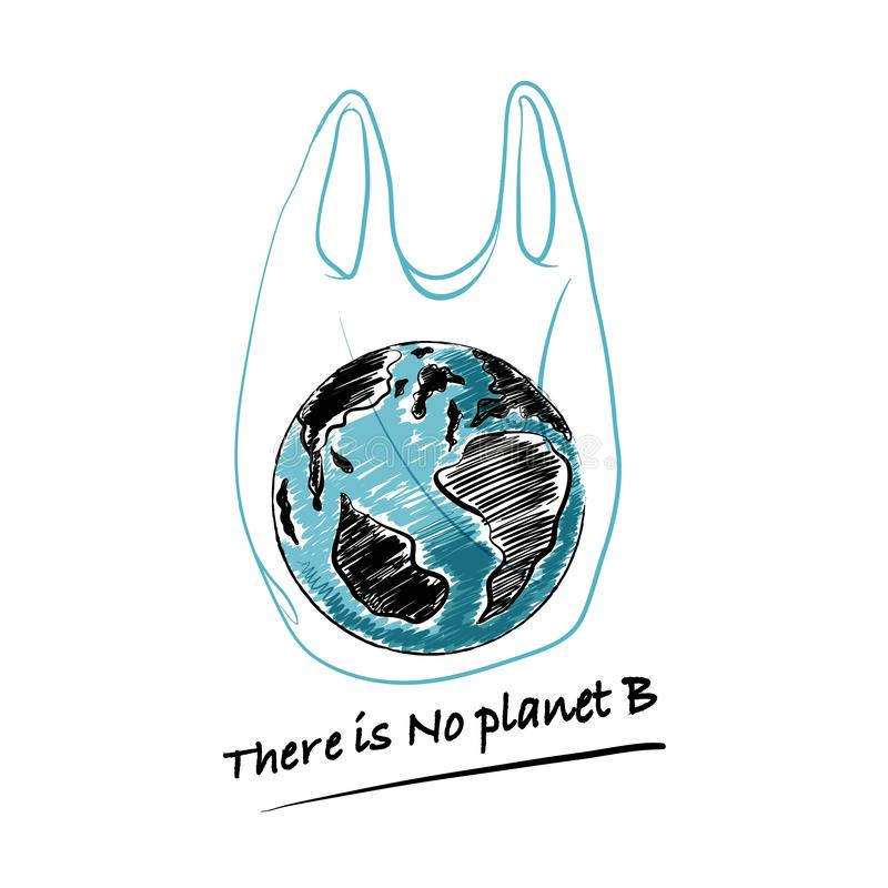 """Hand drawn the earth in plastic bag with wording """" There is No planet B """" Design for save the world , no plastic bag campaign. And all graphic used stock illustration"""