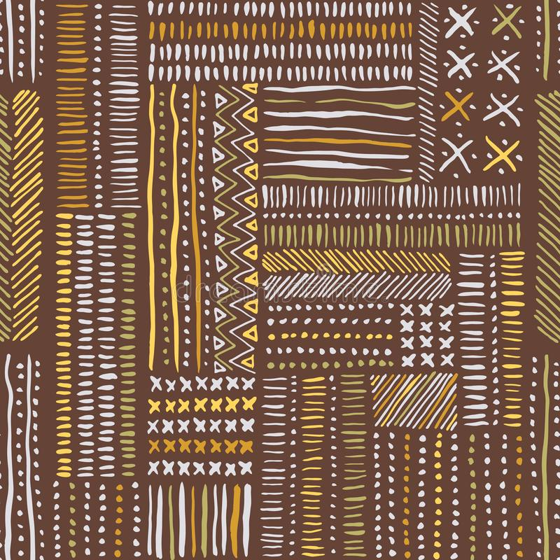 Hand drawn clay tones tribal marks, cross stitches on brown background vector seamless pattern. Abstract geometric print royalty free illustration