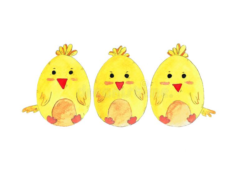 Hand drawn easter chicken. Set of watercolor illustration eggs for decoration. stock illustration