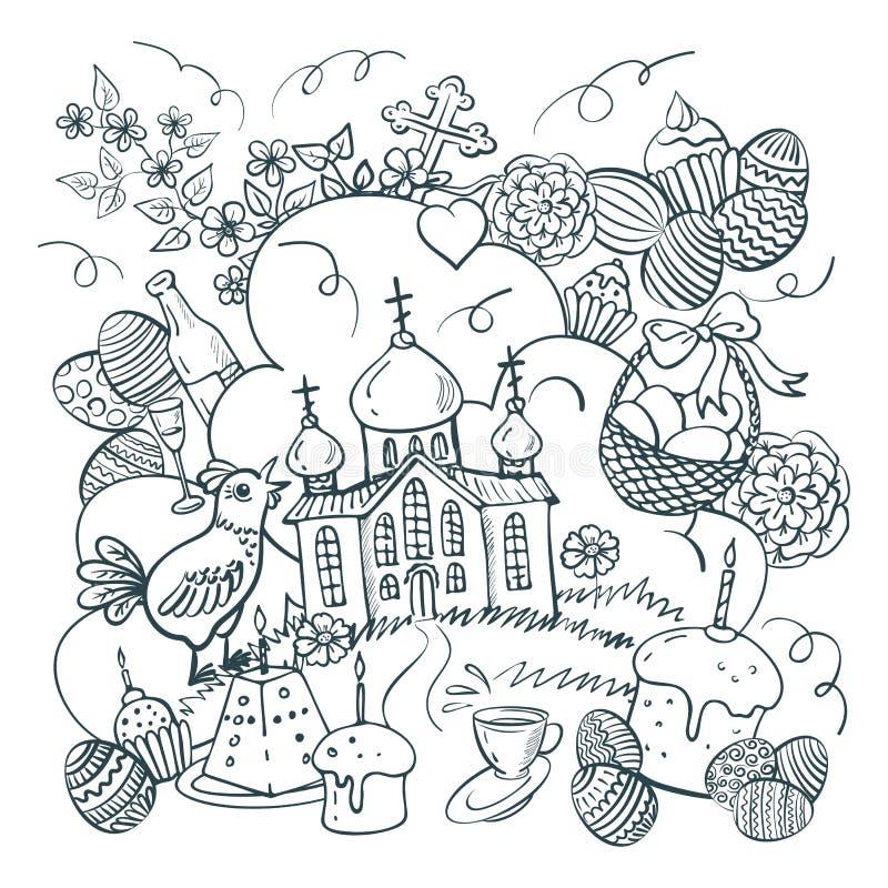 Hand drawn Easter doodle postcard. Orthodox church. Holiday symbols. Vector illustration. stock illustration