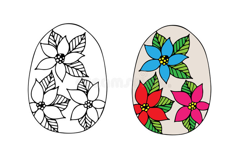 Hand drawn Easter egg with flower. For coloring book for adult and design elements. Can be used for card, invitation, posters, texture backgrounds, placards royalty free illustration