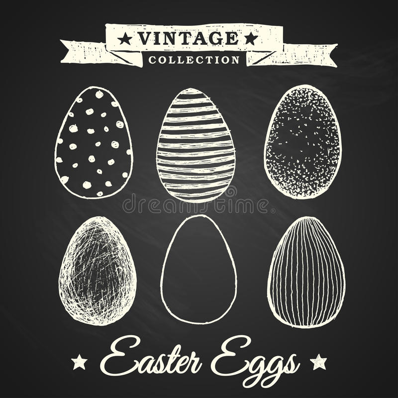 Hand drawn easter eggs stock photo