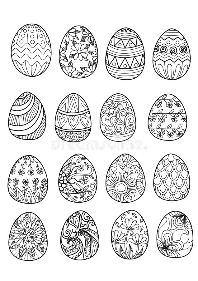 Free Hand Drawn Easter Eggs For Coloring Book Stock Photo - 62942640