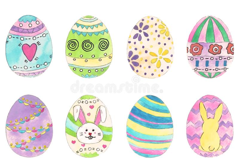 Hand drawn easter eggs. Watercolor illustration. Set of multi-colored eggs. stock illustration