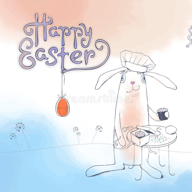 Hand drawn Easter greeting card in vector format. Easter Bunny vector illustration
