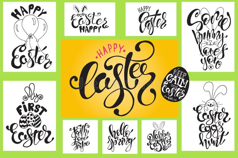 Hand drawn Easter quotes Greeting cards templates with lettering phrases Modern calligraphy style stock illustration