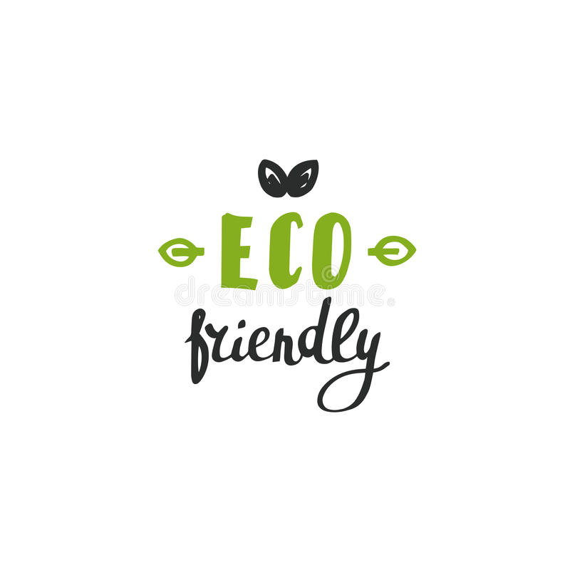 Hand drawn Eco friendly lettering. Vector organic design template. royalty free stock image