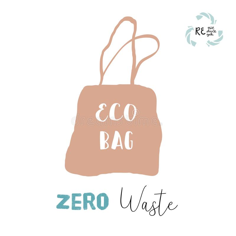 Hand drawn doodle elements of zero waste lifestyle. Hand drawn eco paper or textile bag illustration of zero waste concept. No plastic vector illustration
