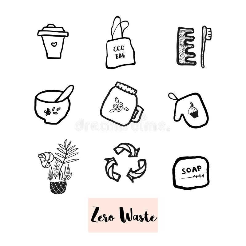 Hand drawn doodle elements of zero waste lifestyle. Hand drawn eco paper or textile bag illustration of zero waste concept. No plastic royalty free illustration