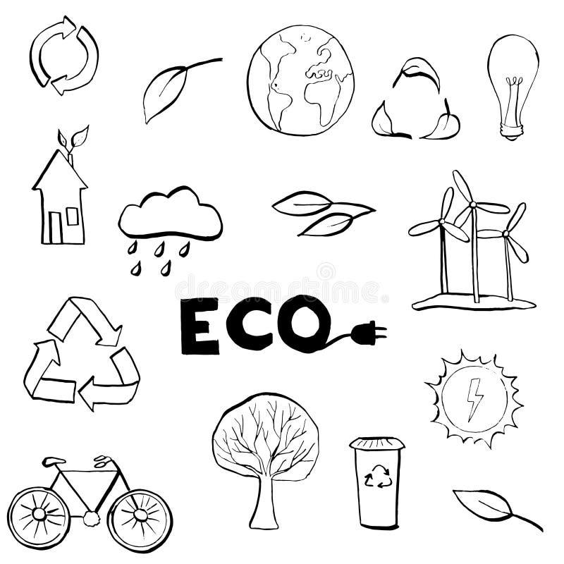 Hand drawn Ecology symbols set. Modern linear style vector concept. Ecology symbols set. Modern linear black and white hand drawn style vector concept vector illustration