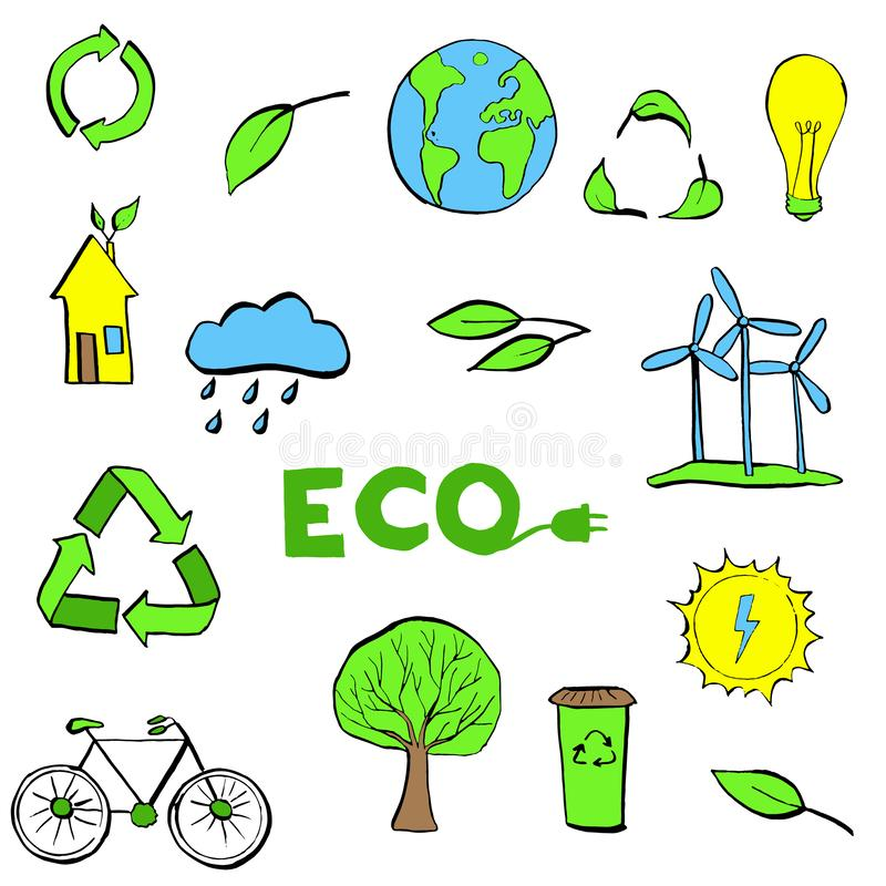 Hand drawn Ecology symbols set. Modern linear style vector concept. Illustration for eco friendly, energy, environment, green, recycle, bio and global concepts royalty free illustration