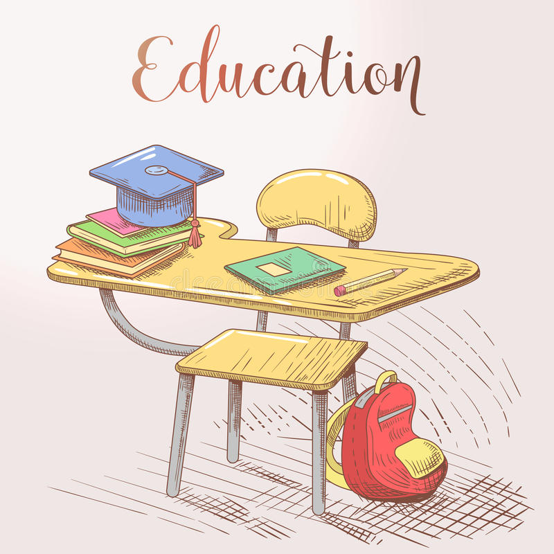 Hand Drawn Education Concept with Desk and Books. Vector illustration stock illustration