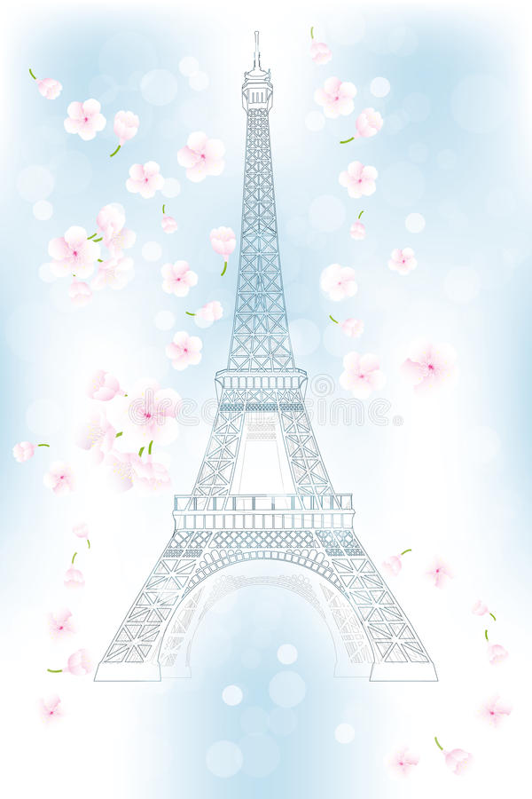 Hand drawn Eiffel tower in spring - Stock Illustration. Art poster of retro hand drawn Eiffel tower in spring - vector Illustration vector illustration