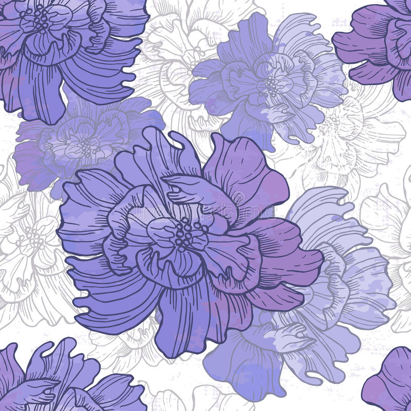 Hand drawn elegance floral vignette. All objects are conveniently grouped and are easily editable royalty free illustration