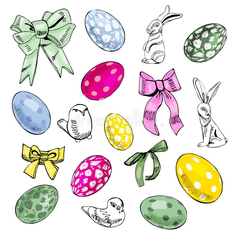 Hand drawn elemens for Happy Easter decoration. Composition with birds, rabbits, eggs and bows isolated on white background royalty free illustration