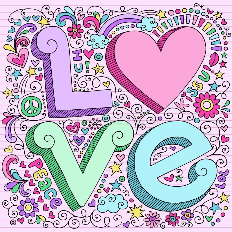 Hand-Drawn element för förälskelseanteckningsbokklotter stock illustrationer