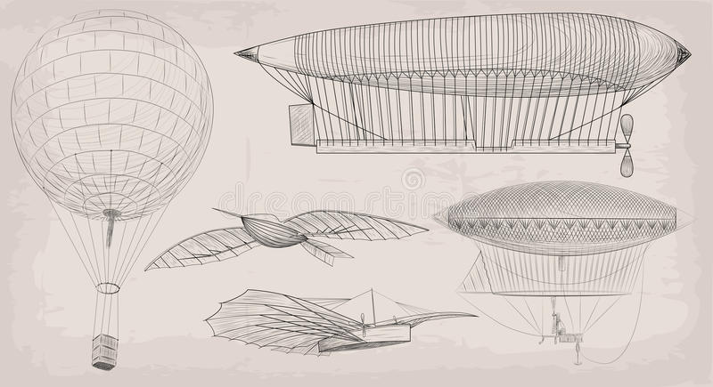 Hand drawn element object vintage air transport airship dirigible, basket balloon plane airplane retro design set black linear .V vector illustration