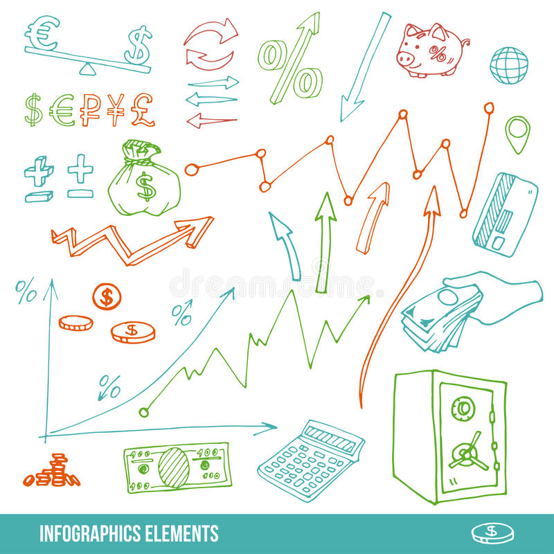Hand drawn elements for infographic royalty free illustration
