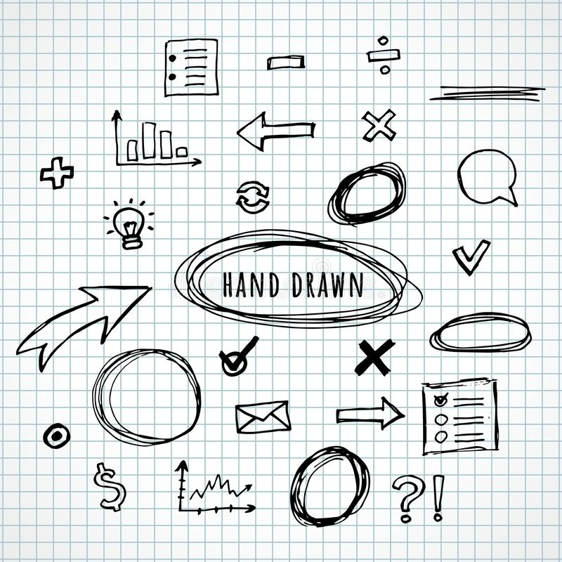 Hand drawn elements sketch royalty free illustration