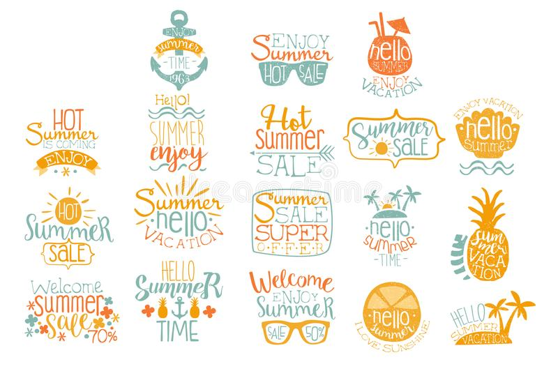 Hand drawn elements for summer calligraphic logo design. Beach vacation and hot sale concepts. Lettering with cocktails. Colorful hand drawn elements for summer vector illustration