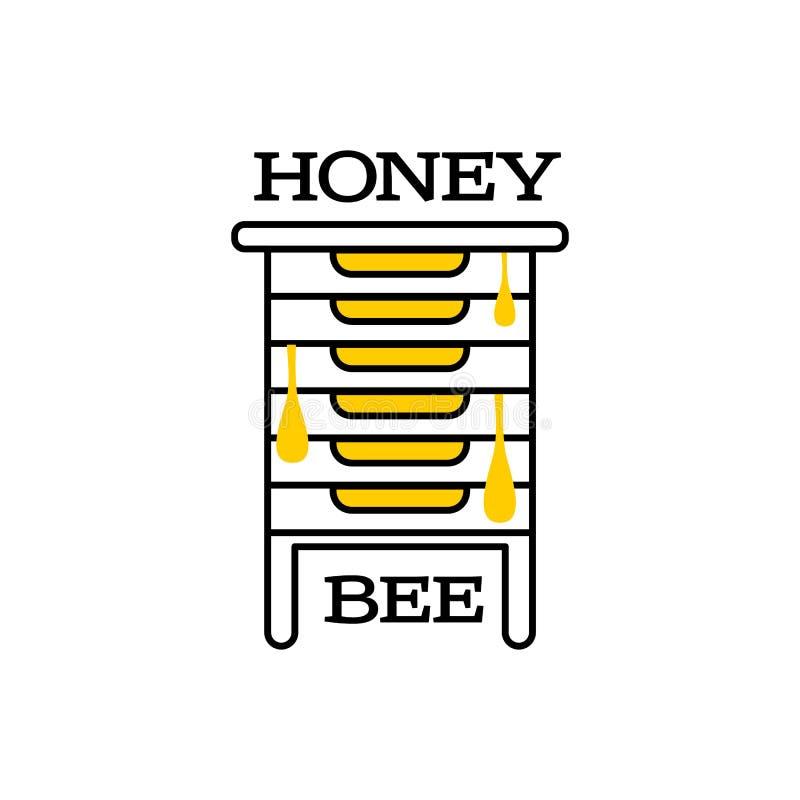 Hand-drawn embleem van de bijenbijenkorf voor honingsproducten royalty-vrije illustratie