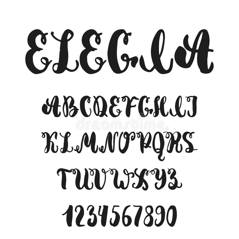 Download Hand Drawn English Lettering Alphabet Elegia With Examples Of This Font Modern Ink Brush