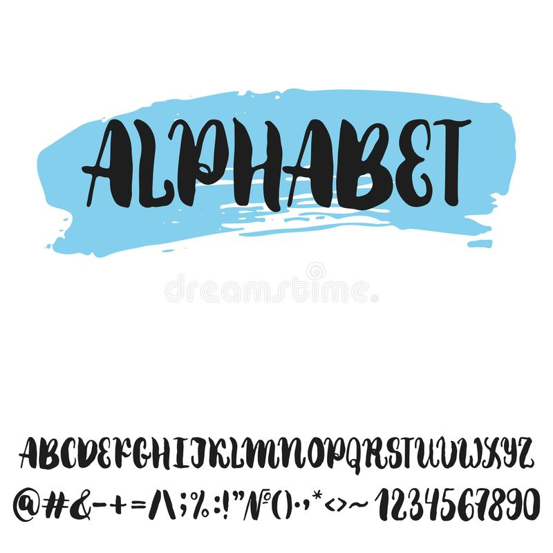 Hand drawn english lettering alphabet with examples of this font. Modern ink brush handwritten letters isolated on the white backg royalty free illustration